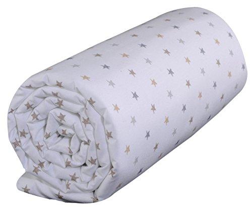 P 'tit Basile–Spannbettlaken Baby bedruckt Kleine Sterne–60x 120cm–4bonets Elastische–Baumwolle aus biologischem Anbau–Collection Unisex Little Sweet Dreams