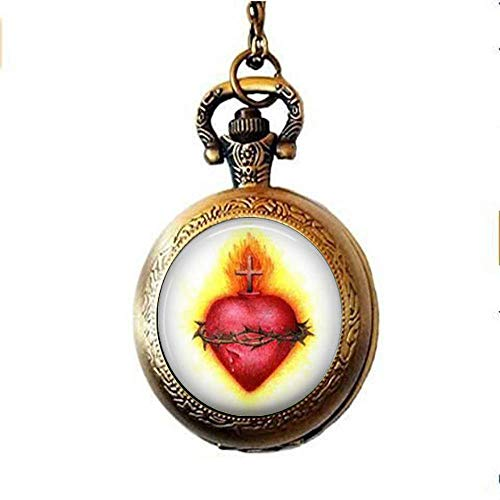 Collar de reloj de bolsillo con diseño de corazón sagrado, regalo cr