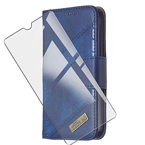 JIENI - Funda para Vivo IQOO U3 (6.58'), con tapa de piel sintética, estilo clásico, con ranuras para tarjetas y función atril, incluye protector de pantalla de cristal templado, color azul