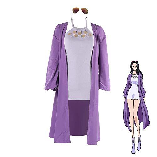 Zhujiao Nico Robin Cosplay Kostüm, Anime One Piece Nico Robin Cosplay Kostüm Lila Trenchcoat Outfits Komplettset mit Brille Halloween Karneval Party Kostüme für Frauen Mädchen