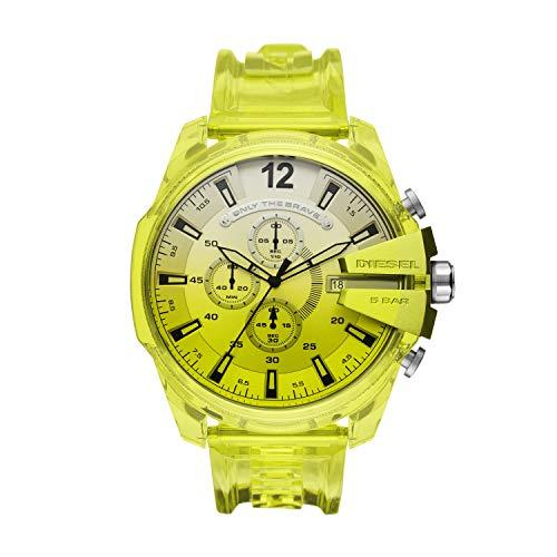 Diesel Herren Uhr Chronograph Mega Chief Polyurethan Gelb DZ4532