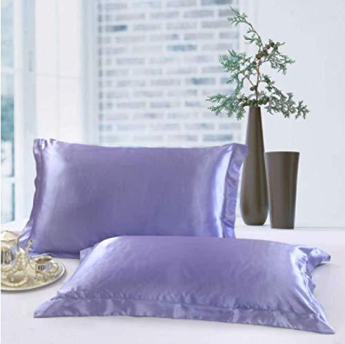 KEPOHK 1pc Funda de Almohada de satén de Color sólido Imitación de Seda 48 * 74cm 480 * 740mm Violeta