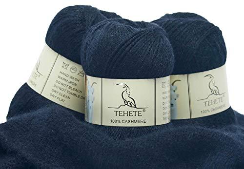 TEHETE 100% Cashmere Yarn for Crocheting 3-Ply Warm Soft Luxurious Fuzzy Knitting Yarn, 150g (Black)