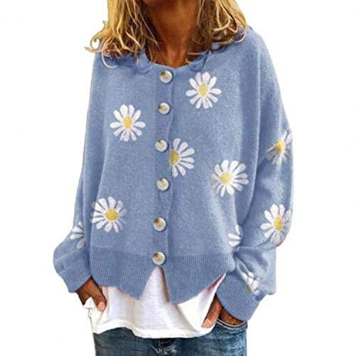 GOOD 2021 Cardigan Women Long Sleeve Coat Women Marguerite Print Sweater Cardigan Autumn Knitted Cotton Jacket Coat Women's Clothing