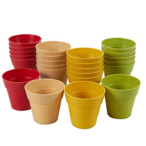 Juvale Mini Plastik-Blumentöpfe (Set, 24 Stück) – Für Innen- und Außenpflanzen – Ideal für Sukkulenten, kleine Pflanzenarten - Grün, Gelb, Rot, Elfenbein, Durchmesser Öffnung 6,3 cm