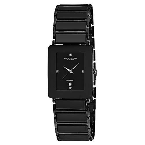 Akribos XXIV Men's AK521 Rectangular Ceramic Quartz Movement Watch Inner Link Bracelet (Black On Black)