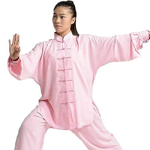 Ropa de Uniforme de Tai Chi-Artes Marciales Trajes de Tai Chi Ropa de Fitness de Rendimiento Ropa Tradicional China de Kung Fu para Hombres y Mujeres Rosa-XX Grande