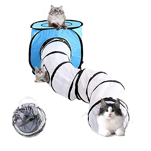 Wuudi Tunnel per Gatti di Coniglio Pieghevole Tende e Tunnel Tubo con Custodia per Conigli, Cani, Animali Domestici