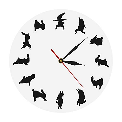 GUANGQING Yoga Rabbit Modern Iconic Clock Animal Bunny Wall Clock Gift for Yoga Lover Flexible Girl Silhouette Fitness Sport Clock/White Living Room Bedroom Office Wall Clock
