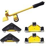 Delaspe Herramienta para mover muebles, 5 piezas de herramientas de transporte de muebles, set de herramientas de movimiento de 4 ruedas de rodillo+1 herramienta de barra de rueda para el hogar