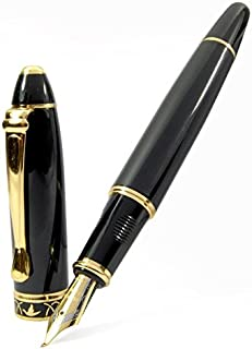 Vintage Black Calligraphy 1.7 mm Fountain Pen Chrome Ring & Tip with Push in Style Ink Converter