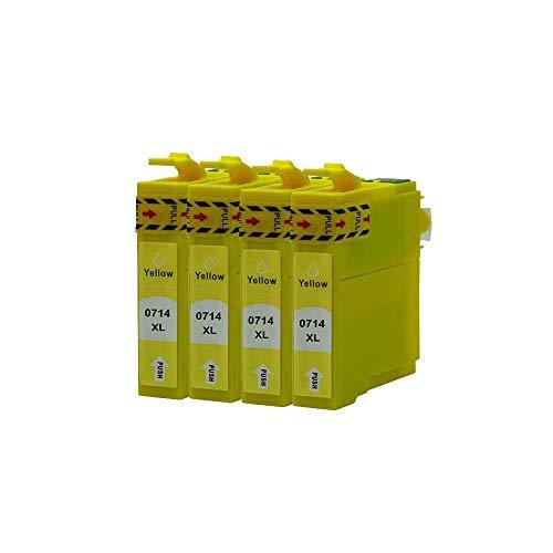 ZYL - Cartuchos de tinta compatibles para Epson T0715 T0714 Stylus S22 SX125 SX130 SX230 SX235W SX420W SX425W SX430W SX435W SX438W SX440W SX445W SX445WE Office BX305F BX305FW BX305FW Plus (4 unidades), color amarillo