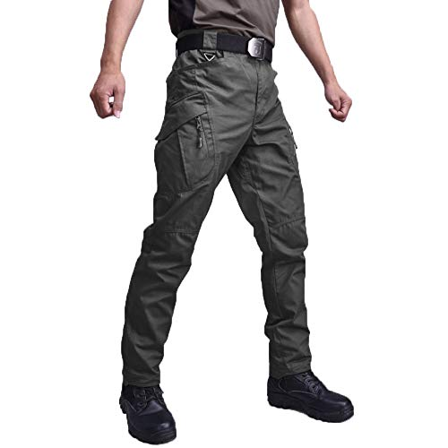SOTF Outdoor Hiking Camping Pants for Men Tactical Casual Cargo Pants, Green, L for waist 34-36inch