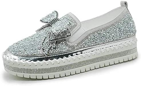 EaGo Women Shining Rhinestone Slip on Loafers with Cute Bowknot Silver product image