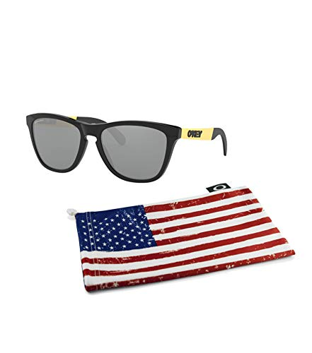 Price comparison product image Oakley Frogskins Mix Sunglasses (Polished Black / Gold Frame,  Prizm Black Lens) with Country Flag Microbag