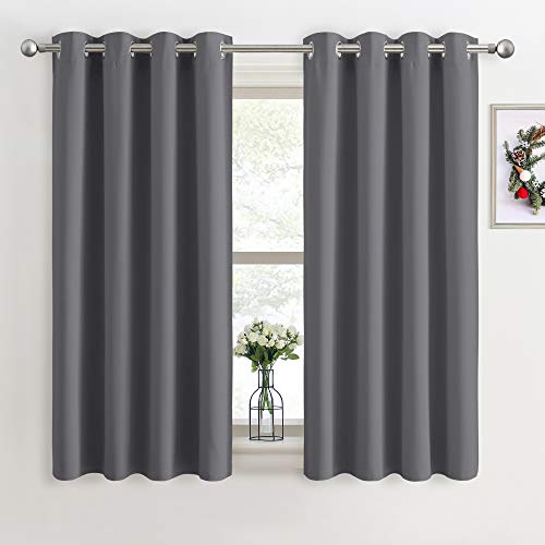 PONY DANCE Grey Blackout Curtains - Super Soft Curtains for Bedroom Eyelet...