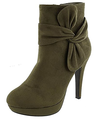 TOP Moda MVE Shoes Women's High-Heels Frosted Low-top Solid Zipper Boots, mve Shoes Khole Olive IMSU Size 7