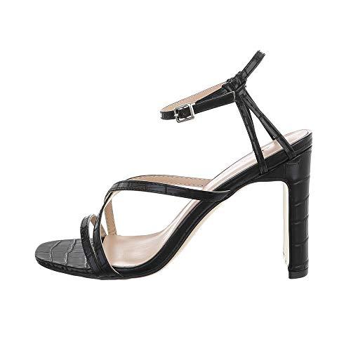 Ital Design Damenschuhe Sandalen & Sandaletten High Heel Sandaletten, 3811-, Kunstleder, Schwarz, Gr. 37
