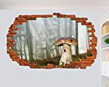 Yxsnow 3D Pegatinas de pared Casa de setas en Deep Forest 3D Adhesivo Decorativo para Pared Pegatinas Decorativas Pared Para Niños Decoración de la Pared Stickers