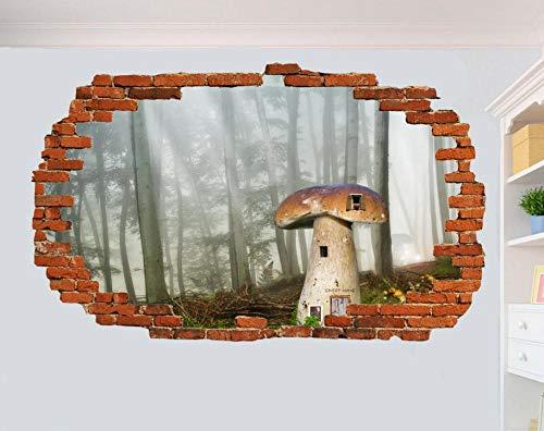 HQQPA Poster di adesivi murali 3D Mushroom Terror Art Poster Decorazione murale in adesivo da parete profondo Decorazione da pareti camere e soggiorni