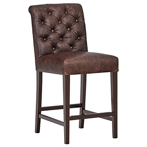 """Amazon Brand – Stone & Beam Carson Tufted Leather Counter Height Kitchen Stool, 41""""H, Brown"""