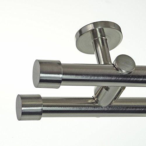 BASIT Edelstahl Look Gardinenstange Ø 20mm Deckenträger 2-läufig zweiläufig Deckenbefestigung Kappe D41 E30E30 RR, Länge:360 cm