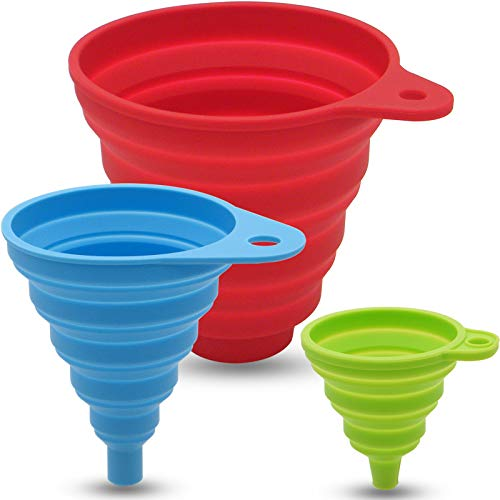 Camping and School Science Automotive 4 funnels, mini, small, medium, large Terbold Plastic Funnel Set for Home Cooking