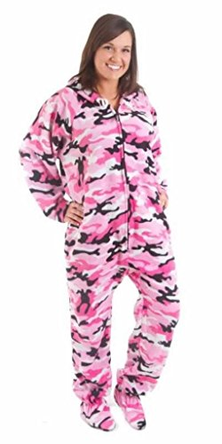 Forever Lazy Footed Adult Onesie - Pink Comatose Camo - L