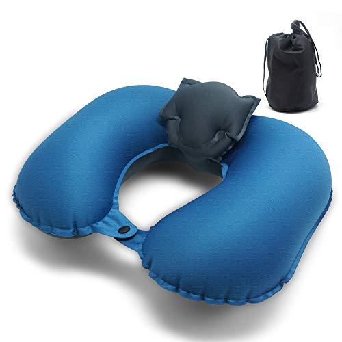 Vcksongs Opblaasbaar strandkussen, licht camping, luchtkussen, ergonomisch nekkussen, opblaasbaar hoofdkussen, camping, auto, outdoor, vliegtuig, vakantie