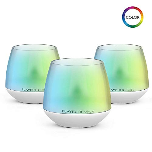 PLAYBULB Smart LED Lamp, Bluetooth Color Changing Flameless Candles with App Control & Timer Bulb, Dimmable Night Light for Kids/Party/Night Light/Candle Holder/Christmas/Wedding Decor (3 Pack)