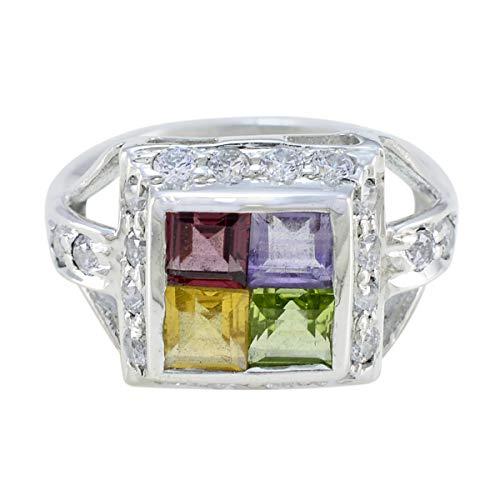 joyas plata piedras preciosas reales forma cuadrada multi piedra facetada multi piedra anillo - plata maciza multi color multi piedra anillo - nacimiento de junio géminis