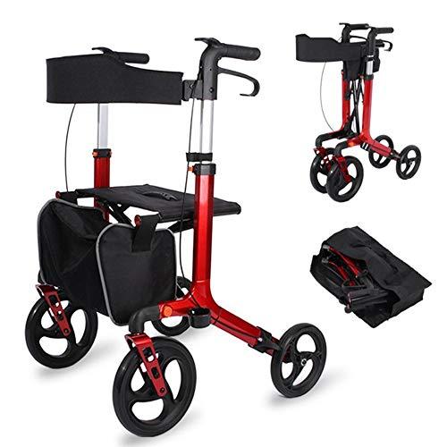 LIUQIGRASS Rollator Mit Luftbereifung, Robuste Aluminium Walker Für Ältere Menschen, Faltbar, Höhenverstellbare, Bastket Und Sitz, Abnehmbare, Rot