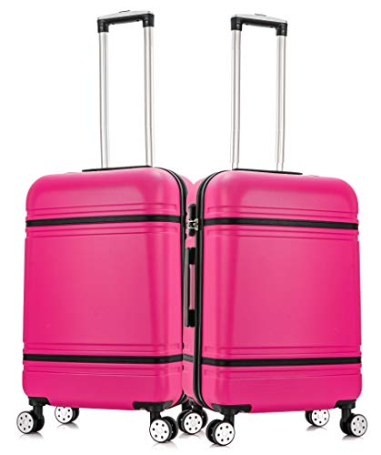 Starlite Luggage 2 x 20' Cabin ABS147 Hard Shell Suitcase 4 Wheel Spinner Pink