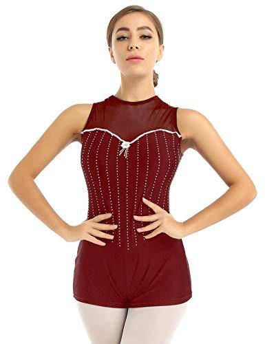 YiZYiF Body da Balletto Ginnastica Artistica con Strass Donna Abito da Danza Classica Ballo Leotard Bodysuit Dancewear Senza Manica Tuta Sportiva Aderente Allenamento Borgogna L