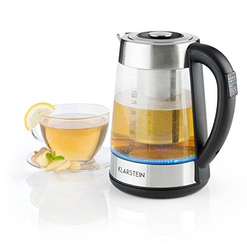 Klarstein Ostfries Hervidor de agua 2 en 1 - Tetera electrica, Colador de te, 1,7 litros, 2200 W, Preparacion bebidas, Regulable, LED, Acero inoxidable y Cristal