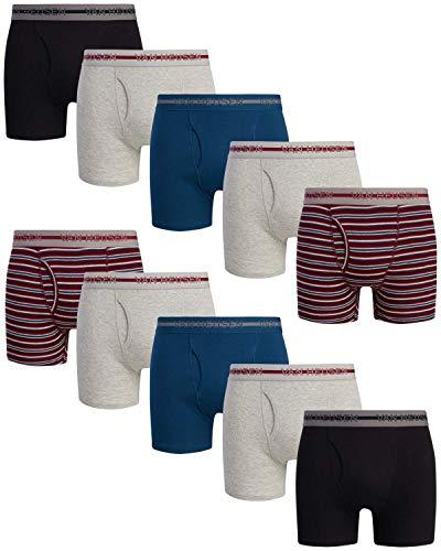 Van Heusen Herren Boxershorts aus Baumwolle mit funktionalem Hosenschlitz, 10 Stück - - Medium