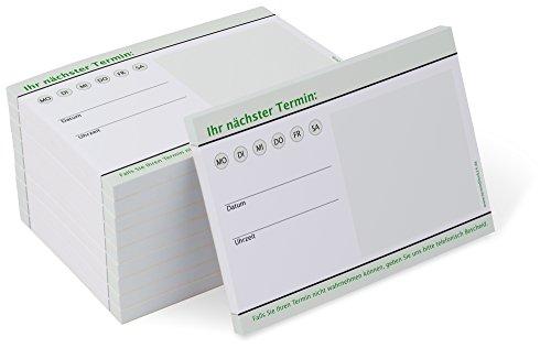 Terminzettel Classic #6 grün (10 Blöcke) je 50 Terminzettel für Ärzte, Physio, Massage, Kliniken, neural