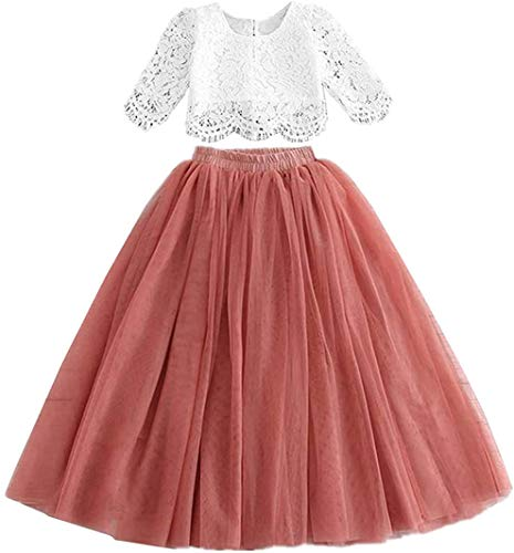 2Bunnies Girl Floral Scallop Lace Tutu Tulle Boho Bohemian Flower Girl Dress 2 Piece Outfit Sets (Dusty Rose, 9-10YRS)
