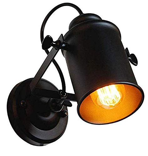 Retro Industrielle Wandleuchte Schwarz Vintage Wandlampe Innen Industrielampe Strahler Schwenkbar Metall Wandleuchten Deckenlampe für Flur Schlafzimmer Wohnzimmer Bar Café