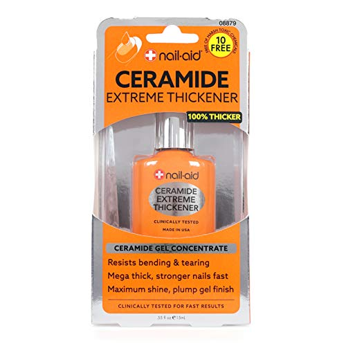 Nail-Aid Ceramide Extreme Thickener - Nail Strengthener - Ridge-Free, Long-Wear Shine Finish - Clear, 0.55 Fluid Ounce