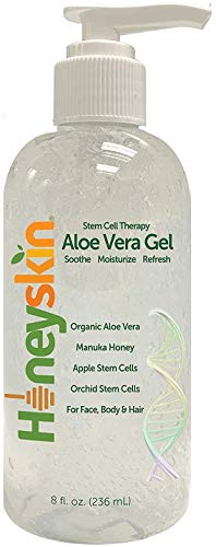 Natural Aloe Vera Leaf Gel - 100% Clean and Pure Hydrating Aloe With Manuka Honey - Face and Body After Sun Care - Aloe Gel for Sunburn and Acne - No Clumping or Pulp - Non Sticky - Made in USA (8 oz)