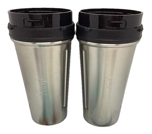 Ninja 24oz Stainless Steel Nutri Ninja Cup for Auto-IQ Blender, 2-Pack, Cup Only No Lid