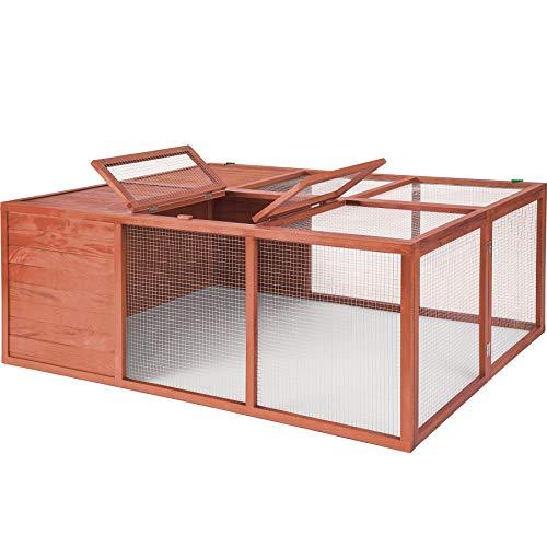 TecTake 403242 Klappbarer XXL Kleintierstall Hasenstall, Freigehege aus imprägniertem Holz und Metallgitter (LxBxH): 159 x 109 x 55 cm