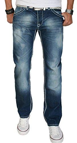 A. Salvarini Herren Designer Jeans Hose blau Dicke weiße Nähte 07 [AS007 - W31 L34]