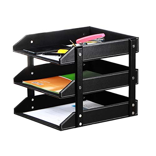 Letter Trays Leather Desk File Organizer, 3-Tier Shelves Document Paper Holder Tray, Office Desktop Accessories Storage Sorter for Folders/Stationery/Bills/Magazine/Newspaper (Black)