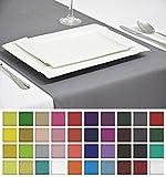 Rollmayer Edle Tischläufer Tischdecke Tischtuch Tischwäsche Pflegeleicht Kollektion Vivid (Silbergrau 31, 40x180cm)