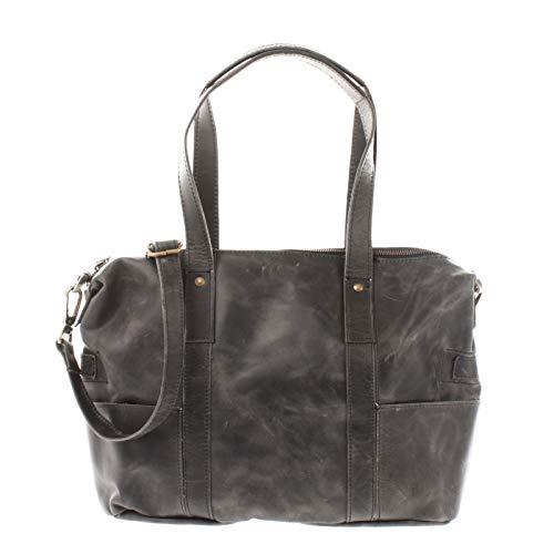 LECONI Shopper Vintage-Look Damen Henkeltasche Schultertasche Echt-Leder Natur Damentasche Ledertasche Umhängetasche Handtasche Leder 37x28x15cm grau LE0034-wax