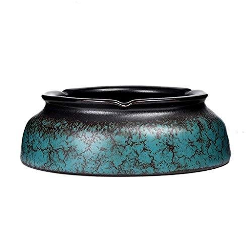 WXFF Keramik Aschenbecherkonsole, Glaswand Partikel Aschenbecher for Raucher Indoor oder Outdoor Aschenbecher for Büro und Heim Kleinigkeiten Tablett (Color : Azurite)