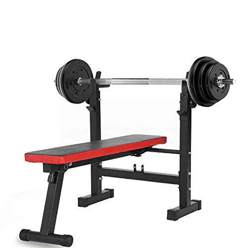 ZLMI Multifunktionell viktbänk sport- och fitnessutrustning styrketräning justerbar standard viktträningsbänk hanteltillbehör, faner