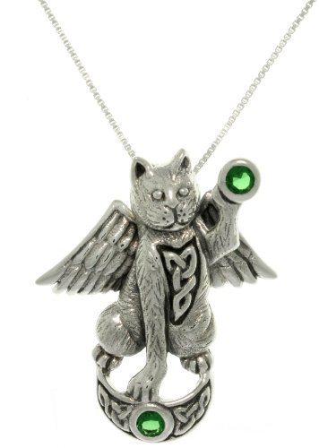 Jewelry Trends Celtic Cat Guardian Angel Wing Sterling Silver Pendant Necklace 18' Green Stone